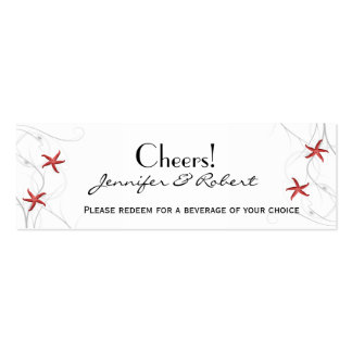 Red Starfish Silver Coral Wedding Drink Tickets Business Cards
