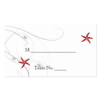 Red Starfish Silver Coral Wedding Place Cards Business Cards