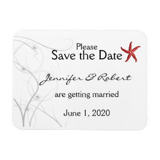 Red Starfish Silver Coral Wedding Save the Date Rectangular Photo Magnet