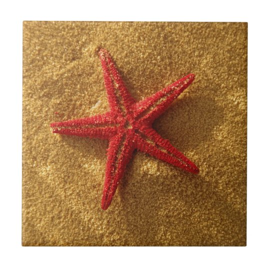 red starfish small square tile