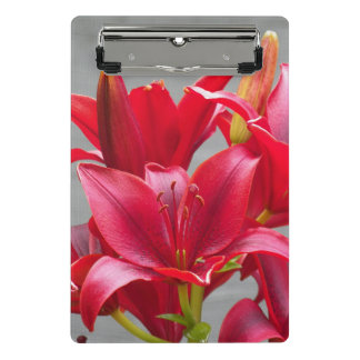 Red Stargazer Lilies Floral Mini Clipboard