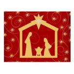 Red Starry Night Christmas Nativity Postcard