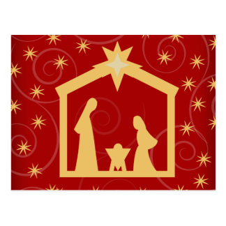 Red Starry Night Christmas Nativity Postcard