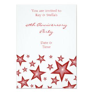 Red Stars '40th Anniversary' vertical white 13 Cm X 18 Cm Invitation Card