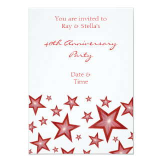 Red Stars '40th Anniversary' vertical white Card