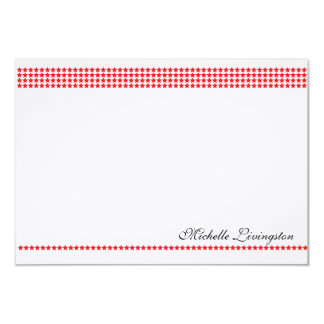 Red Stars Chic Personalized Flat Note Cards 9 Cm X 13 Cm Invitation Card