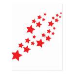 red stars falling postcard