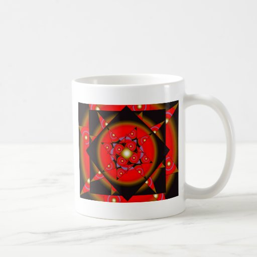 Red Stars in Squares Coffee Mugs