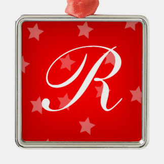 Red Stars Monogrammed Christmas Tree Ornament
