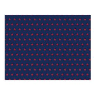 Red Stars on Patriot Blue Postcard