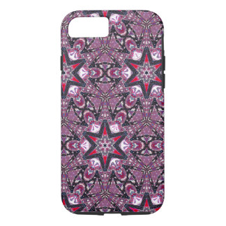 Red Stars on Purple Kaleidoscope iPhone 7 Case