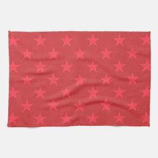 Red stars pattern tea towel