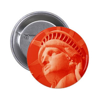 Red Statue of Liberty 6 Cm Round Badge