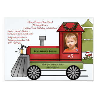 Red Steam Engine - Photo Holiday Birthday Party In 13 Cm X 18 Cm Invitation Card