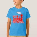 Red steam loco train custom name kids t-shirt