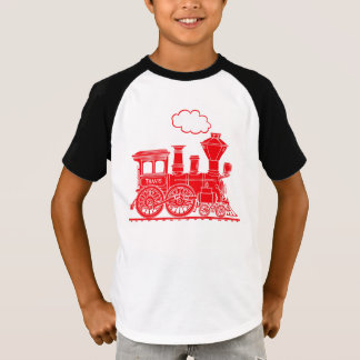 """Red steam loco train """"your name"""" kids t-shirt"""