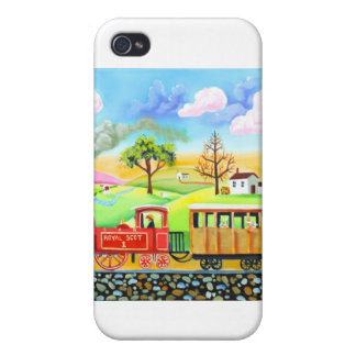 Red steam train naive folk art painting cases for iPhone 4