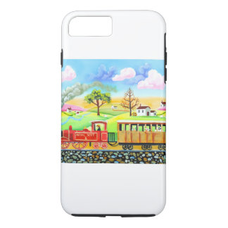 Red steam train naive folk art painting iPhone 7 plus case