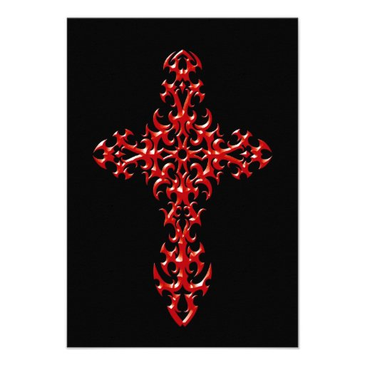 Red Steel Gothic Cross on Black Personalized Invite