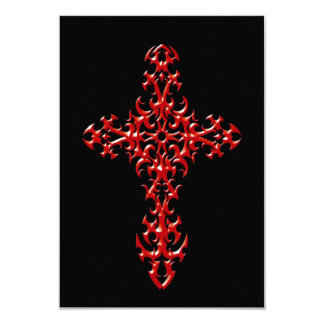 """Red Steel Gothic Cross on Black 3.5"""" X 5"""" Invitation Card"""