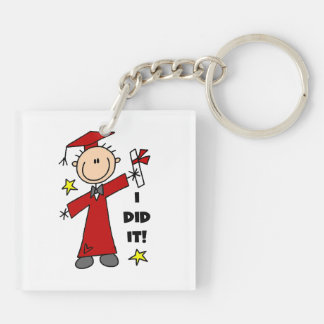 Red Stick Figure Boy Graduate Acrylic Key Chains