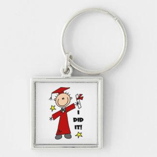 Red Stick Figure Boy Graduate Keychains