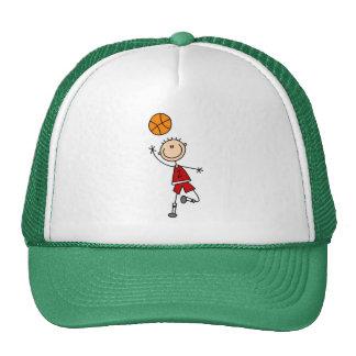 Red Stick Figure Boys Baskeball Hat