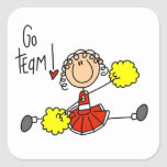 Red Stick Figure Cheerleader t-shirts and Gifts Square Sticker