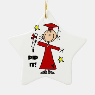 Red Stick Figure Girl Graduate Christmas Ornament