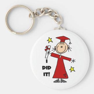 Red Stick Figure Girl Graduate Keychains