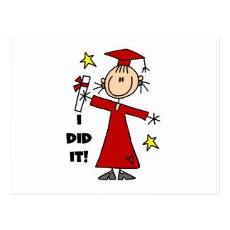 Red Stick Figure Girl Graduate Postcard