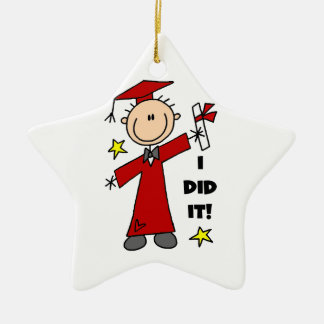 Red Stick Figure Male Graduate Christmas Ornament