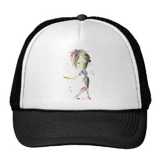 Red Stiletto Girl plays Baseball! Art Cap
