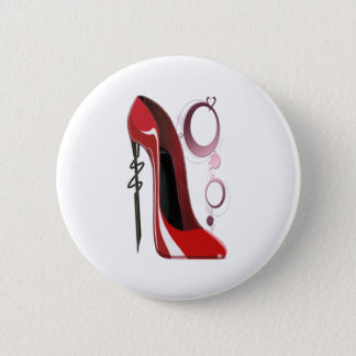 Red Stiletto Shoe and Bangles Art 6 Cm Round Badge