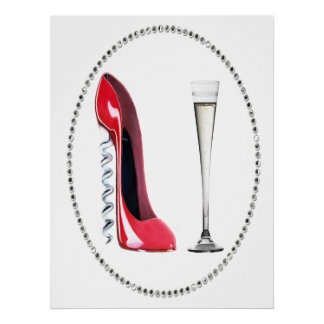 Red Stiletto Shoe and Champagne Flute Print