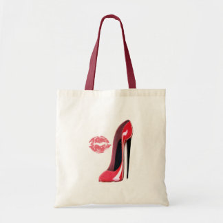 Red Stiletto Shoe and Lips Art Budget Tote Bag
