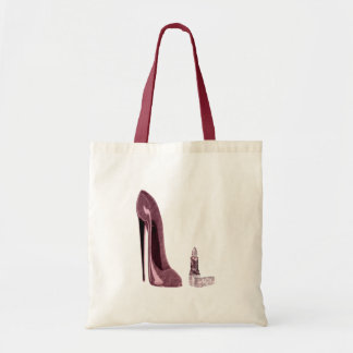 Red Stiletto Shoe and Lipstick Tote Bag