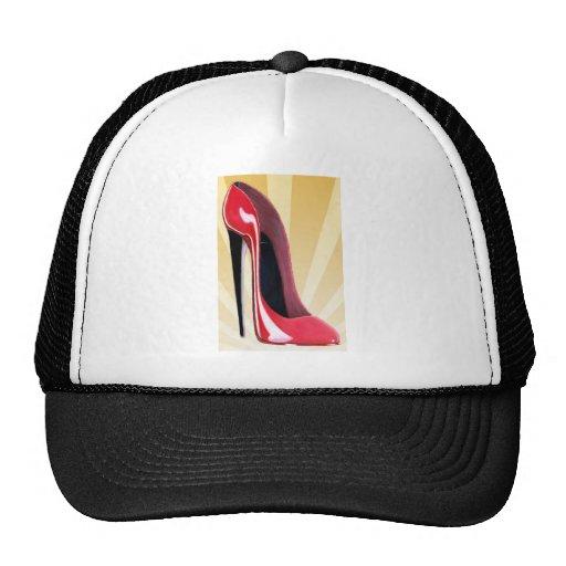 Red stiletto shoe and starburst hat