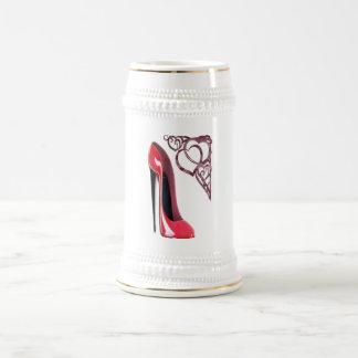 Red Stiletto Shoe Art and Heart Swirls Beer Stein