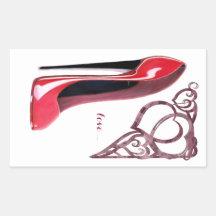 Red Stiletto Shoe Art and Heart Swirls Rectangle Sticker