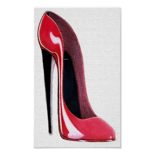 Red Stiletto Shoe Textured Effect Print