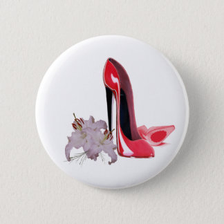 Red Stiletto Shoes and Lilies 6 Cm Round Badge