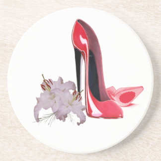 Red Stiletto Shoes and Lilies Coaster