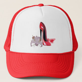 Red Stiletto Shoes and Lilies Trucker Hat