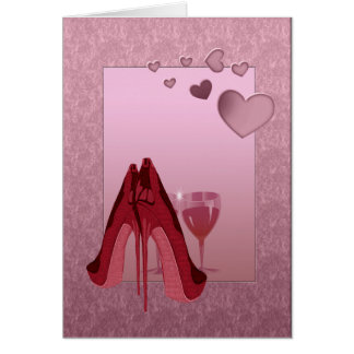 Red Stiletto's and Pink Hearts Card