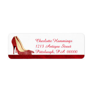 Red Stilettos Girly Address Label
