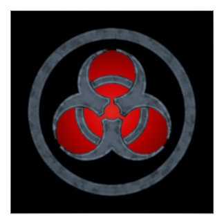 Red Stone Biohazard Symbol Poster