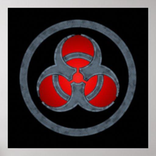 Red Stone Biohazard Symbol Poster