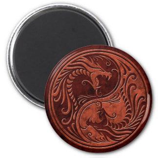 Red Stone Yin Yang Dragons Magnet