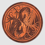 Red Stone Yin Yang Phoenix Round Sticker